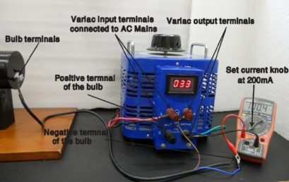 5. The incandescent light bulb is connected to the variac through an ammeter in series